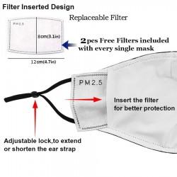 Mund- / Gesichtsschutzmaske mit PM2.5-Filtern - Nasenclip - wiederverwendbar - Ninja