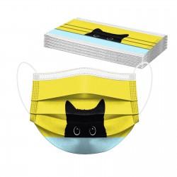 10 Stück - Mund- / Gesichtsschutzmaske - 3-lagig - Einweg - Katzendruck