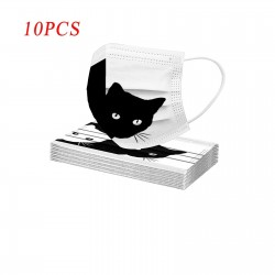 10 pieces - protective mouth / face mask - 3-layer - disposable - cat print