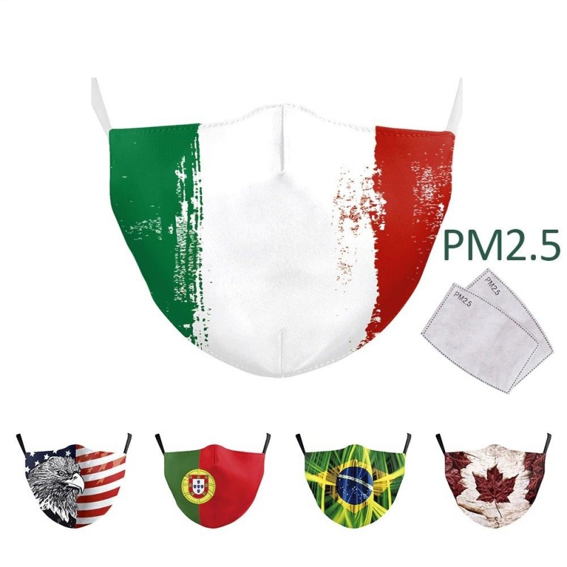 Mouth / face protective mask - PM.25 filters - reusable - World flags