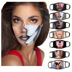 Mond- / gezichtsmasker - herbruikbaar - katoen - bedrukt gezicht - 1 - 7 stuks