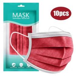 Mund- / Gesichtsschutzmaske - Einweg - antibakteriell - rot - 10 - 100 Stück