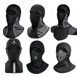 Winter thermal fleece ski mask - full face cover - hood with scarf - sport balaclava - windproof - waterproof