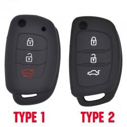 Silicone car key case - Hyundai - Elantra - Tucson - i40 - i20 - i10 - Creta - Santa Fe - 3 buttons