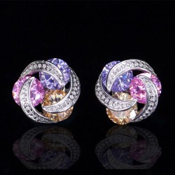 Luxury twisted mosaic - stud earrings with zircons - 925 sterling silver