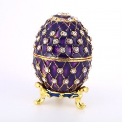Vintage Easter egg - metal jewelry box with crystals