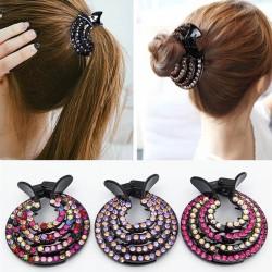 Kristall-Haarspange - Haarklaue - zur Herstellung eines Brötchens / Donuts