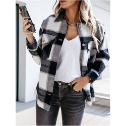 Vintage plaid shirt with long sleeves and buttons - jacket