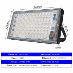 100W - AC 220V 230V 240V - LED schijnwerper - IP65 waterdicht - buitenreflector