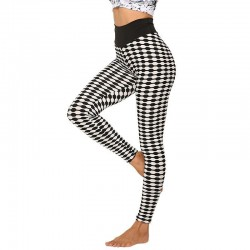 Stretchy long leggings - slimming - with lattice print - fitness - yoga