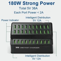180W 36A - fast charge - USB Smart charger with 30 USB ports - for iPhone - Samsung