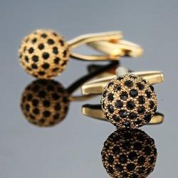 Golden crystal ball cufflinks - 2pcs