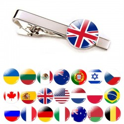 National flag tie clips - 30 countries - necktie