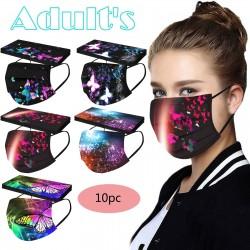 Mund- / Gesichtsschutzmasken - 3 Lagen - Unisex - Schmetterlingsdruck - 10 Stück