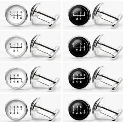 Glass gearbox - white - black round cufflinks - 2 pieces