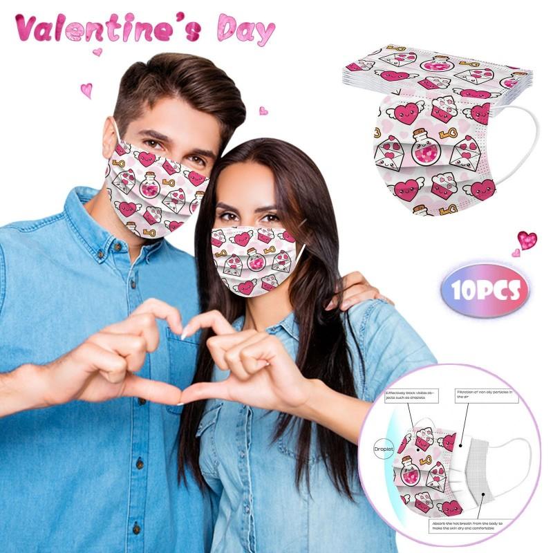 Gezicht / mond beschermend masker - wegwerp - 3 laags - Valentijnsdag - 10 stuks