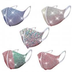 Gezicht / mond beschermend masker - herbruikbaar - stofdicht - kleurrijke strass steentjes