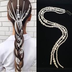Haarverlängerung im Punk-Stil - 3-reihige Kette - Clip mit Perlen