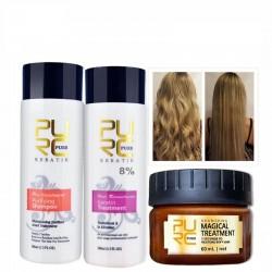 Haar glätten und reparieren - brasilianische Keratinbehandlung - Shampoo - Conditioner - Maske - 3 Stück