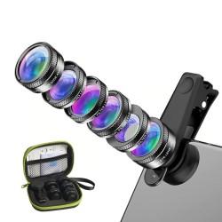 6 in 1 - Universal-Telefonkameraobjektiv - Fischauge - Weitwinkel - Makro - CPL / Star ND32-Filter - für Smartphones