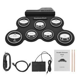 Digitaal elektronisch drumstel - 7-Pad - USB oprolbare siliconen drumpad - met drumstokken / voetpedalen