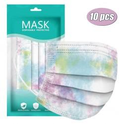 Mond- / gezichtsmaskers - 3-laags - wegwerp - tie-dye patroon - 10 - 20 - 30 - 50 - 60 - 70 stuks