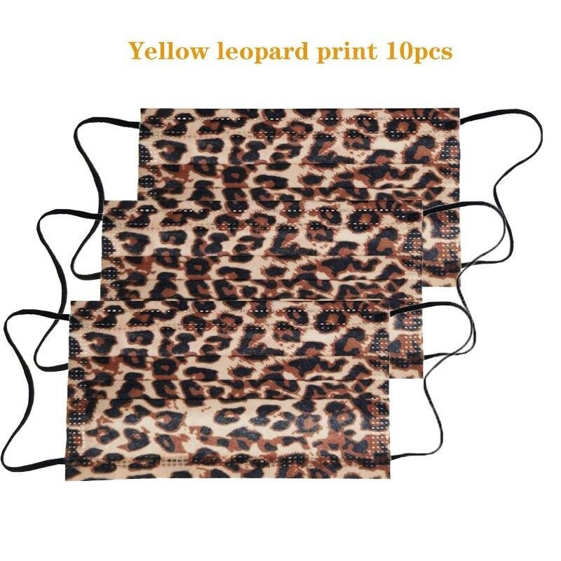Mouth / face protective masks - disposable - 3-layer - leopard print - 10 - 50 - 100 pieces