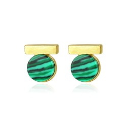 Elegant round stud earrings - with green malachite - 925 sterling silver