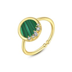Elegant ring with malachite & zirconia - 925 sterling silver - resizable