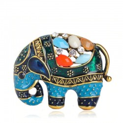 Thailand elephant with crystals - brooch