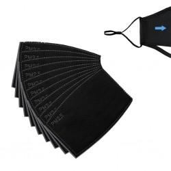 PM 2.5 - gezichtsmaskerfilters - 5-laags - actieve kool - 12 * 8cm - 1 - 5 - 50 stuks - zwart