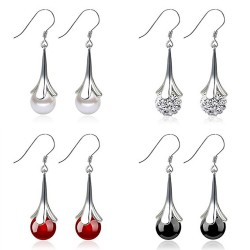 Elegant long earrings with opal
