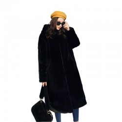 Fashionable fur coat with hoodie