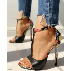 High heel sandals - with aa ankle strap - flower design