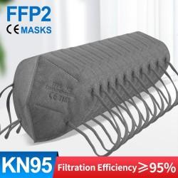FFP2 - KN95 - beschermend gezichts- / mondmasker - 5-laags - herbruikbaar - grijs - 10-100 stuks