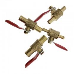 Kogelkraan met rode hendel - 6mm - 12mm - voor afsluiting water / olie / lucht / gas / brandstofleiding - messing
