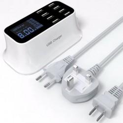 8-poorts USB-snellader - voedingsadapter - Smart IC - met display en automatische detectie