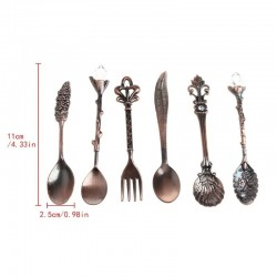 Vintage tableware set - coffee spoon - fork - ice cream / dessert spoon - 6 pieces