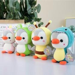 Kleine pinguïn - verkleed als kikker / eenhoorn / bij / dinosaurus - knuffel - 23cm