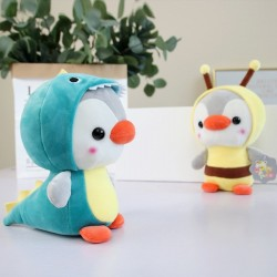 Small penguin - dressed as frog / unicorn / bee / dinosaur - plush toy - 23cm