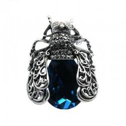 Crystal beetle - vintage brooch