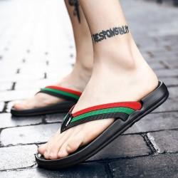 Leren sandalen - strandslippers - gestreept dessin