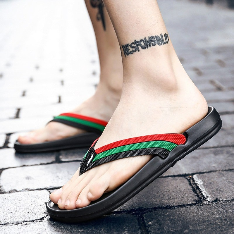 Leather sandals - beach flip flops - striped design