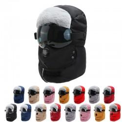 Warme Wintermütze - mit Schutzbrille - Ohren- / Mundschutz / Luftventil - wasserdichte Sturmhaube