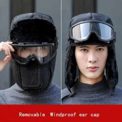 Warm winter hat - with goggles - ears / mouth protection - full face mask