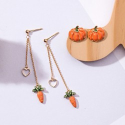 Pumpkin / carrot - long / stud long earrings