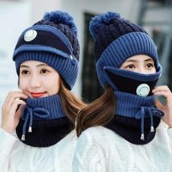 3 in 1 - gestrickte Mütze / Gesichtsmaske / Schal - warmes Winter-Set