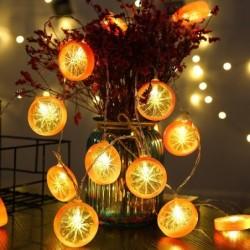 Fruit plakjes vormige lichtslinger - op batterijen / USB - citroen / limoen / sinaasappel