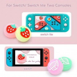 Thumb stick grip cap - joystick cover - lichtgevend - voor Nintendo Switch Lite Joy-Con - fruit / bladeren print