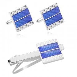 Blue square cufflinks / tie...
